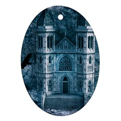 Church Stone Rock Building Oval Ornament (Two Sides)