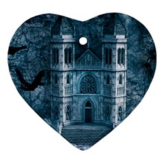 Church Stone Rock Building Heart Ornament (Two Sides)