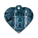Church Stone Rock Building Dog Tag Heart (One Side) Front
