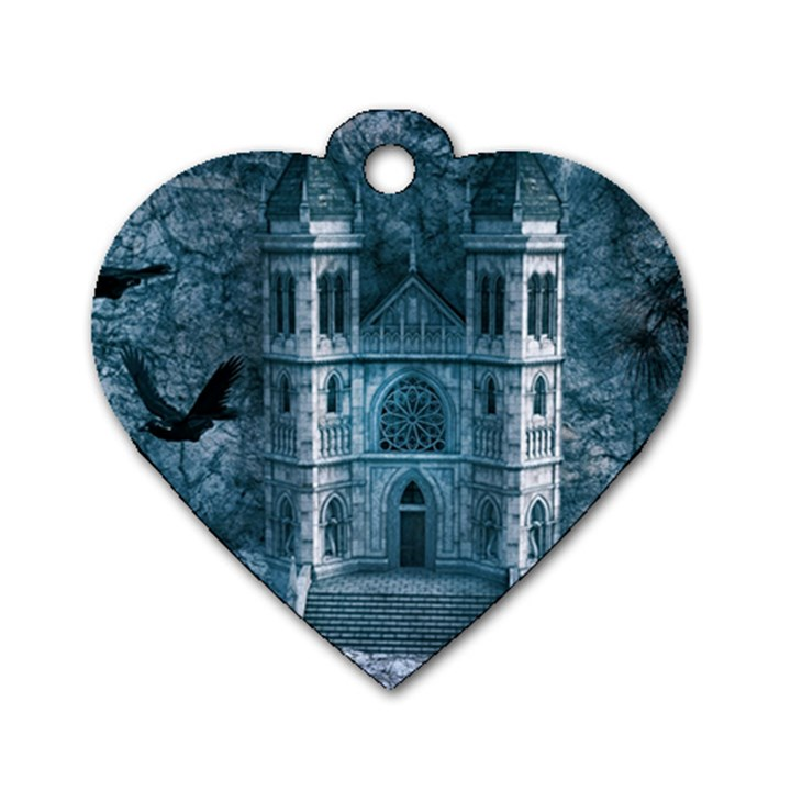 Church Stone Rock Building Dog Tag Heart (One Side)
