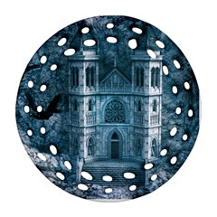 Church Stone Rock Building Round Filigree Ornament (Two Sides)