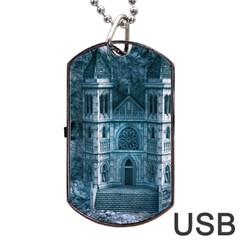 Church Stone Rock Building Dog Tag USB Flash (One Side)