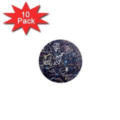 Graffiti Chalkboard Blackboard Love 1  Mini Magnet (10 Pack)  by Celenk