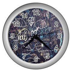 Graffiti Chalkboard Blackboard Love Wall Clocks (silver)  by Celenk