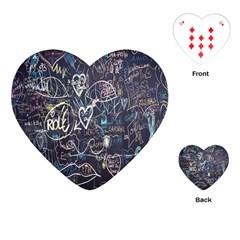 Graffiti Chalkboard Blackboard Love Playing Cards (heart)  by Celenk