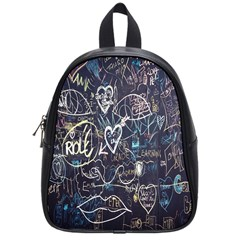 Graffiti Chalkboard Blackboard Love School Bag (small) by Celenk