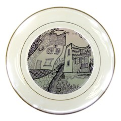 Doodle Drawing Texture Style Porcelain Plates by Celenk
