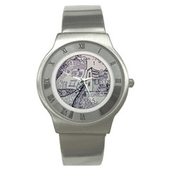 Doodle Drawing Texture Style Stainless Steel Watch by Celenk