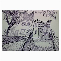 Doodle Drawing Texture Style Large Glasses Cloth by Celenk
