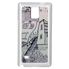 Doodle Drawing Texture Style Samsung Galaxy Note 4 Case (white)