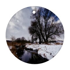 Winter Bach Wintry Snow Water Ornament (round) by Celenk