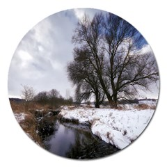 Winter Bach Wintry Snow Water Magnet 5  (round) by Celenk
