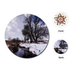 Winter Bach Wintry Snow Water Playing Cards (round)  by Celenk