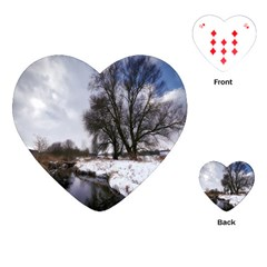 Winter Bach Wintry Snow Water Playing Cards (heart)  by Celenk