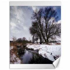 Winter Bach Wintry Snow Water Canvas 36  X 48   by Celenk