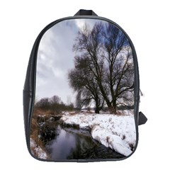 Winter Bach Wintry Snow Water School Bag (large) by Celenk
