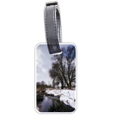 Winter Bach Wintry Snow Water Luggage Tags (two Sides) by Celenk