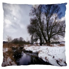 Winter Bach Wintry Snow Water Large Cushion Case (two Sides) by Celenk