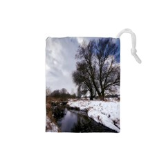 Winter Bach Wintry Snow Water Drawstring Pouches (small)  by Celenk
