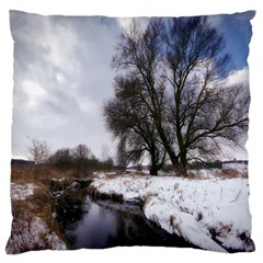 Winter Bach Wintry Snow Water Large Flano Cushion Case (two Sides) by Celenk