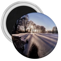 Winter Lake Cold Wintry Frozen 3  Magnets by Celenk