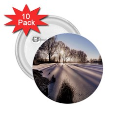 Winter Lake Cold Wintry Frozen 2 25  Buttons (10 Pack)  by Celenk