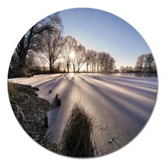 Winter Lake Cold Wintry Frozen Magnet 5  (round) by Celenk