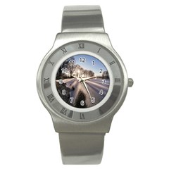 Winter Lake Cold Wintry Frozen Stainless Steel Watch by Celenk