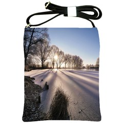 Winter Lake Cold Wintry Frozen Shoulder Sling Bags by Celenk
