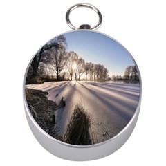 Winter Lake Cold Wintry Frozen Silver Compasses by Celenk