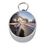 Winter Lake Cold Wintry Frozen Mini Silver Compasses Front