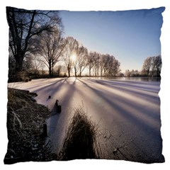 Winter Lake Cold Wintry Frozen Large Flano Cushion Case (one Side) by Celenk
