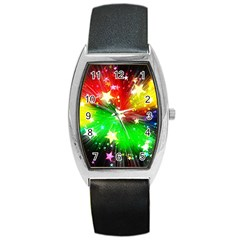 Star Abstract Pattern Background Barrel Style Metal Watch by Celenk