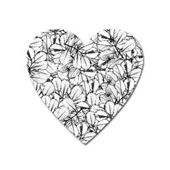 White Leaves Heart Magnet by SimplyColor