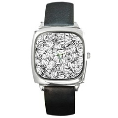 White Leaves Square Metal Watch by SimplyColor