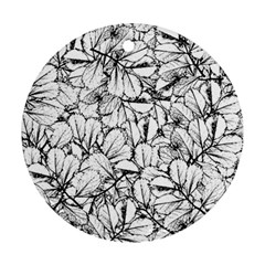 White Leaves Round Ornament (two Sides) by SimplyColor