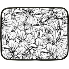 White Leaves Double Sided Fleece Blanket (mini)  by SimplyColor