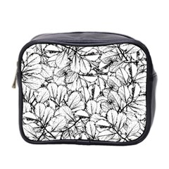 White Leaves Mini Toiletries Bag 2 Side by SimplyColor