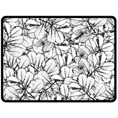 White Leaves Fleece Blanket (large)  by SimplyColor