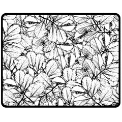 White Leaves Fleece Blanket (medium)  by SimplyColor