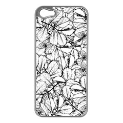 White Leaves Apple Iphone 5 Case (silver) by SimplyColor