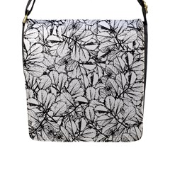 White Leaves Flap Messenger Bag (l)  by SimplyColor