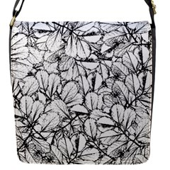 White Leaves Flap Messenger Bag (s) by SimplyColor
