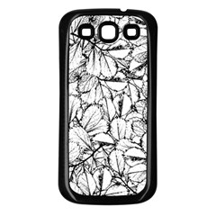 White Leaves Samsung Galaxy S3 Back Case (black) by SimplyColor