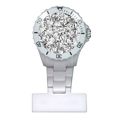 White Leaves Plastic Nurses Watch by SimplyColor