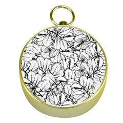 White Leaves Gold Compasses by SimplyColor