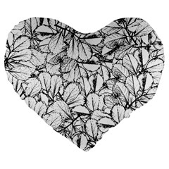 White Leaves Large 19  Premium Flano Heart Shape Cushions by SimplyColor