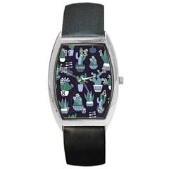 Cactus Pattern Barrel Style Metal Watch