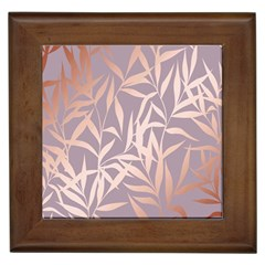 Rose Gold, Asian,leaf,pattern,bamboo Trees, Beauty, Pink,metallic,feminine,elegant,chic,modern,wedding Framed Tiles