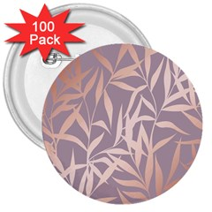Rose Gold, Asian,leaf,pattern,bamboo Trees, Beauty, Pink,metallic,feminine,elegant,chic,modern,wedding 3  Buttons (100 Pack)